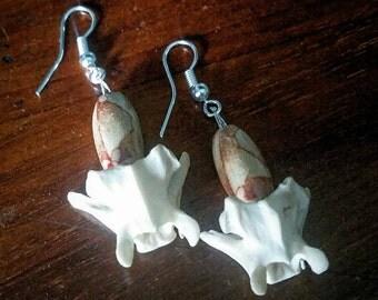 Handmade Vertebrae / Bone Fish Hook Earrings With Beads