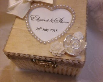 Custom made Custom Made Personalised wooden Elegant Ring Box Jewellery Box Ring Bearer Wedding Pearls rustic shabby chic vintage box