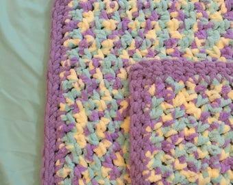 Crochet Baby Blanket-Purple Multi
