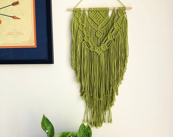 Pistachio Green Macrame Wall Hanging on a Wooden Dowel, Woven Wall Hanging, Boho Hippie Tapestry, Bohemian Decor, Statement Piece