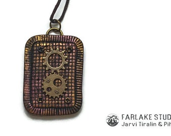 Steampunk gears pendant Polymer clay Rectangle pendant Handmade jewelry Steampunk pendant Handmade pendant Steampunk jewelry Bronze pendant