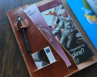 fold open leather ministryservice organizer magazine book tract pen - Field Service Organizer