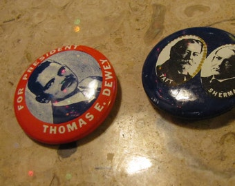 Set of 2 Vintage Political Campaign Buttons made by Kleenex Tissues in 1968 Taft + Sherman and Dewey