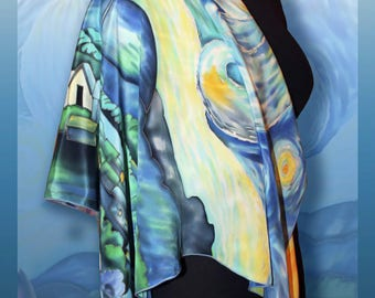 Silk Shawl Van Gogh Starry Night, Crepe de Chine Silk, Handmade silk scarf, scarves for women, handpainted scarf
