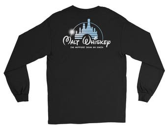 Malt Whiskey The Happiest Drink On Earth Long Sleeve T-Shirt IMAGE ON BACK