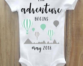 The Adventure Begins onesie, Hot Air Balloon onesie, Pregnancy Announcement, Pregnancy Reveal, Baby Announcement, Greatest adventure onesie