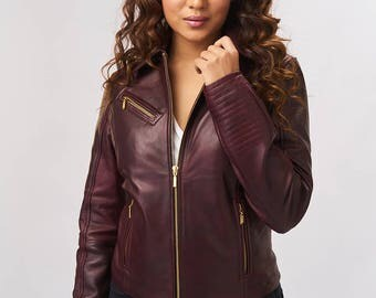 Leather Jacket - Burgundy