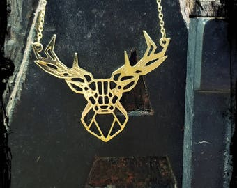 Modern gold geometric stag deer necklace, stunning gold plated origami style stag deer pendant.