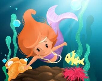 "Illustration for children ""Pretty Mermaid"""
