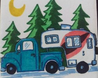 Vintage Truck Camper Coaster