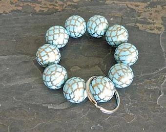 Keychain Bracelet, Bracelet Keychain, Beaded Keychain, Key Wristlet, Handsfree Keychain, Bracelet for Keys,  Fashion Keychain, Blue keychain