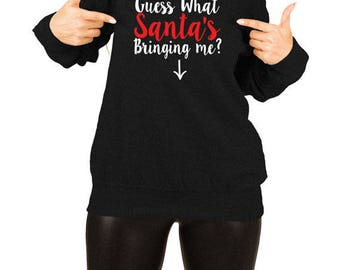 Christmas Pregnancy Announcement Xmas Sweater Maternity Clothing Holiday Gift Ideas For New Moms Off The Shoulder Slouchy Sweatshirt TEP-517