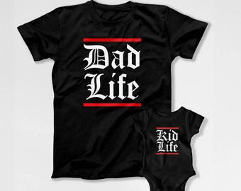 Father Son Matching T Shirts Father And Daughter Shirt Matching Family Shirts Gifts For New Dad TShirt Dad Life Kid Life TEP-280-281