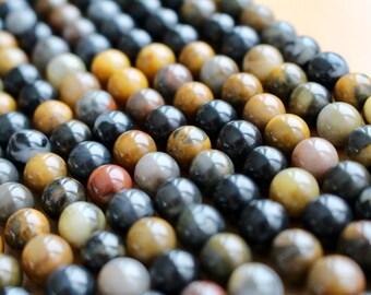 8mm Petrified Wood beads, full strand, natural stone beads, round, 80124