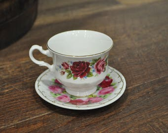 Teacup & Saucer - Mignon/Queen Anne - Pink Roses and Gold Leaf
