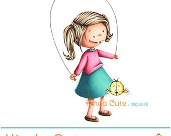 Girl and jumping rope colored digital stamp (colored image only). Instant download. Girl digital stamps.