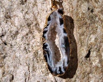 Sale ~ Sale ~ Zebra Agate druzy geode slice necklace