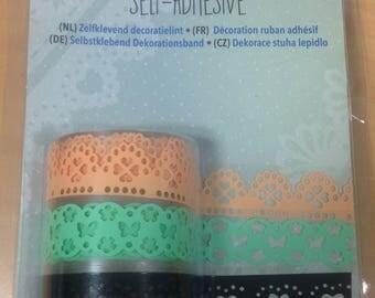 Lot de 3 masking tape / washi tape / scotch décoré dentelle bordure