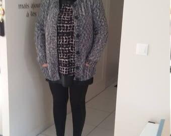 Shiny grey women vest warm and cozy