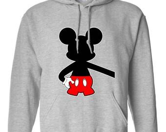 Mickey Mouse Hugging Extended Hand Design Clothing Adult Unisex Hoodie Hooded Sweatshirt Best Seller Designed Hoodies for Men