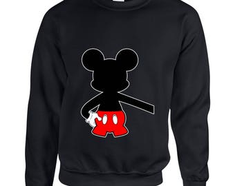 Mickey Mouse Back Hugging Left Side Extended  Clothing Adult Unisex Sweatshirt Printed Crew Neck Sweater for Women and Men