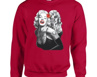 Marilyn Monroe Tattoos Red lips Halloween Make Up Adult Unisex Designed Sweatshirt Printed Crew Neck Sweater for Women and Men