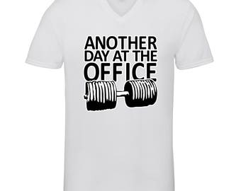 Another Day at The Office Workout Fitness Gym Adult Unisex T-Shirts Men Size V Neck Tee Shirts for Men and Women