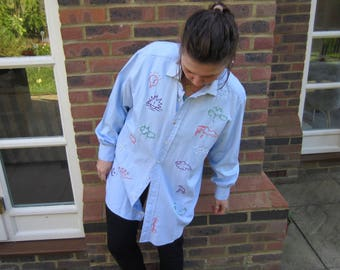 HAND EMBROIDERED Characters shirt