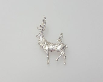 Stag Charm Pendant in .925 Sterling Silver
