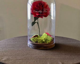 Enchanted paper flower rose in glass dome