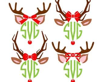 Reindeer svg, christmas svg, monogram svg, christmas monogram, svg reindeer, svg christmas, svg monogram, monogram christmas, Rudolph svgs
