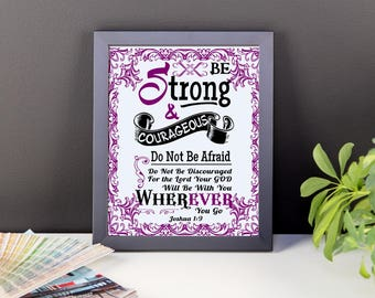 Joshua 1:9 Bible Wall Art | Joshua 1 9 Poster | Joshua 1 9 Prints | Bible Verse Prints