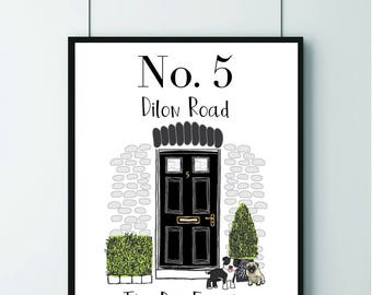 New Home Gift/ Our House/ Welcome To Our Home/ Front Door/ House Warming Present/House Print/Home Prints/ Personalised Print