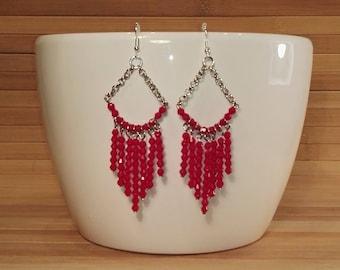 Earrings - Chandelier - glass beads - Fuchsia