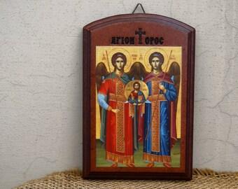 Archangel Michael and Gabriel Orthodox Russian Byzantine ICON Mount Athos// Religious gift idea