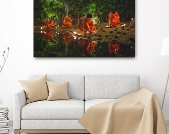 Buddhist Canvas Print - Thailand Travel Photography, Buddhism Decor, Asia Large Canvas Wrap, Asian Wall Art, Buddhist Monk, Fine Art Photo