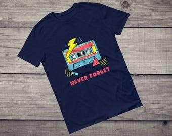 Never forget, music cassette, mc, DJ T-Shirt retro computer, disk jockey, 80s, old school, funny 80s, Short-Sleeve Unisex T-Shirt tee