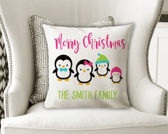 Christmas Family PILLOW, Penguin Family Names Pillow, Penguin Lover, Personalized Christmas Gift for Her, Pillow Cover or With Insert