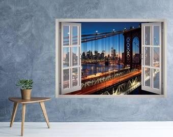 Brooklyn Bridge View Window 3D Wall Decal Art Removable Wallpaper New York City Mural Sticker Vinyl Home Decor