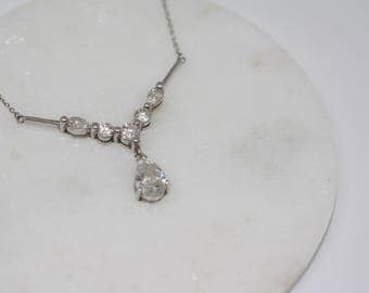 Sterling Silver and Cubic Zirconia Necklace. Vintage, Jewellery, pendant, CZ, vintage necklace, 925 silver, gift.