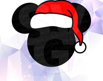Mickey Mouse Santa Hat Clipart Layered Cut Files SVG DXF EPS Vector Silhouette Cricut Cameo Vinyl Tshirt Cut Files Digital Head Ears Disney