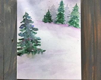 Christmas Watercolor Note Card