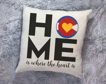 Colorado Home is Where the Heart Is Throw Pillow, Realtor Gift, Colorado Gift, Colorado State, Gift from Colorado Pillow, Colorado Mountain