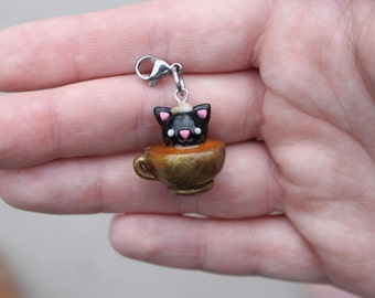 Black Cat in a Teacup Charm/Necklace