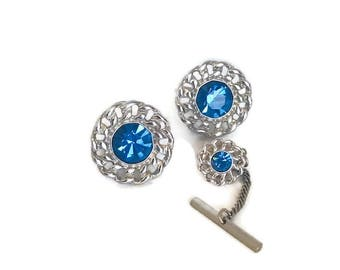 Vintage Swank Silver and Sapphire Blue Rhinestone Cufflink and Tie Tack Set