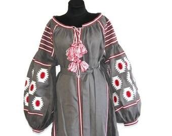 Ukrainian Clothing Vyshyvanka Custom Embroidery Boho Clothing Gift Kaftan Dubai Abaya Dress Boho Dresses Ethnic Ukraine Vishivanka