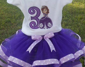 Embroidered Princess Sofia Birthday Outfit