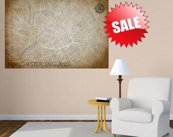 MANCHESTER Canvas Print, United Kingdom UK Vintage map, ENGLAND City Horizontal Wall Art, Vintage Manchester, Gift poster, antique map, Art