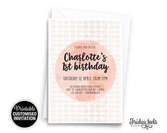 Boho Blush Customized Birthday Invitation, Birthday Party Invitation Printable, Digital Download Birthday Party Invite