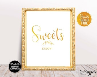Sweets Wedding Sign, Printable Wedding Poster, Gold look Script font, Instant Download, WS02